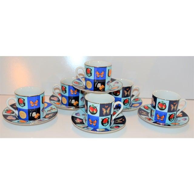 Vintage Mid Century Gucci Guccissimo Porcelain Espresso Cup Saucer Set- 12 Pieces For Sale - Image 11 of 13