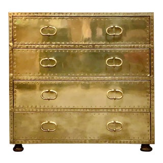 1970's Vintage Brass Dresser by Sarreid Ltd. For Sale