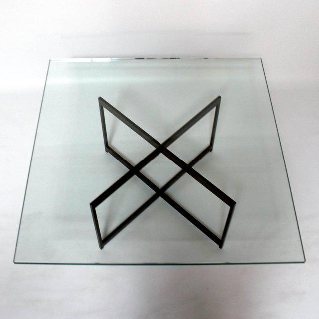Mid-Century Modern Mid-Century Bronze & Glass X-Base Coffee Table For Sale - Image 3 of 10