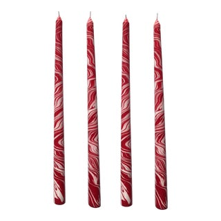"""Candy Cane 14"""" Marbleized Taper Candles, Set of 4 For Sale"""