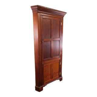 Antique 19th Century Country Pine Chippendale Style Corner Cabinet For Sale