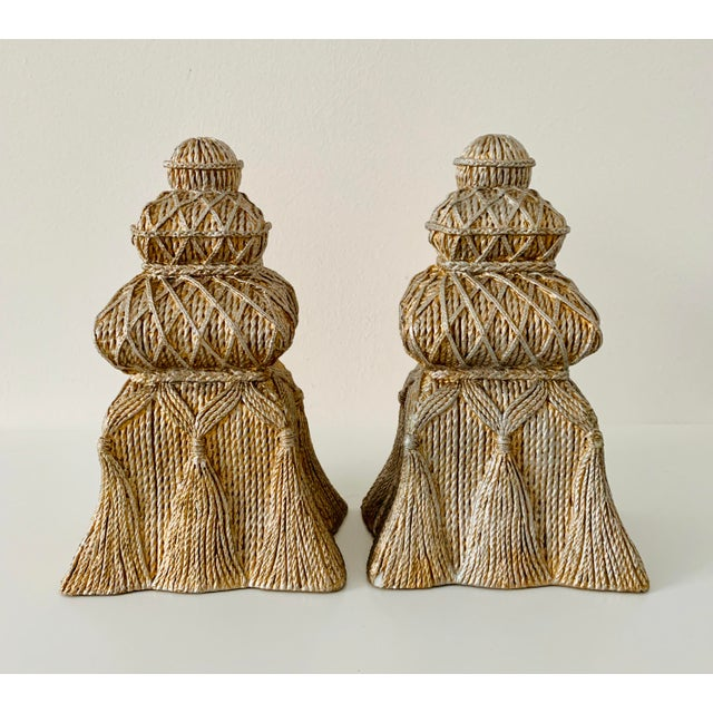 Gold and Silver Ceramic Tassel Bookends - a Pair For Sale In Minneapolis - Image 6 of 6