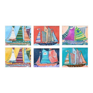 Sailing Ships Set of 6 by Lulu DK in White Framed Paper, Small Art Print For Sale