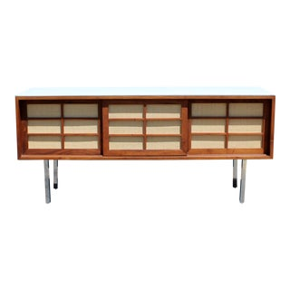 Mid Century Modern McCobb Knoll Style Vitrolite Chrome Wood Credenza 1960s For Sale