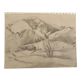 1950s Modern Mountain Valley Landscape Drawing For Sale
