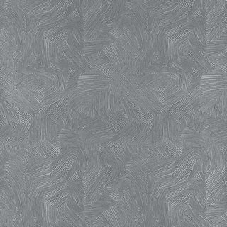 Schumacher Labyrinth Metallic Wallpaper in Mercury For Sale