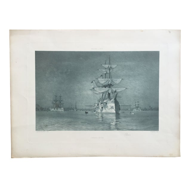 19th-C. Boston Harbor Nautical Photogravure - Image 2 of 6