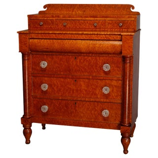 Antique Transitional Empire to Sheraton Birdseye Maple Chest of Drawers For Sale