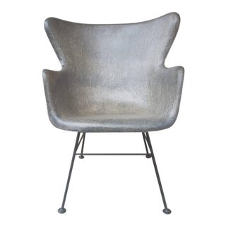 Fiberglass Wingback Chair in Charcoal Lawrence Peabody for Selig