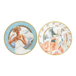 Vintage Set of Oleg Cassini Pickard China the Most Beautiful Women of All Time Decorative Plates - 2 Pieces For Sale