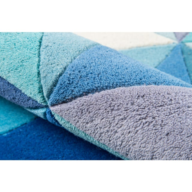 Contemporary Momeni Delhi Hand Tufted Blue Wool Area Rug - 5' X 8' - Image 4 of 6
