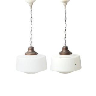 """XL Vintage """"School House"""" Pendant Ceiling Lights - a Pair For Sale"""