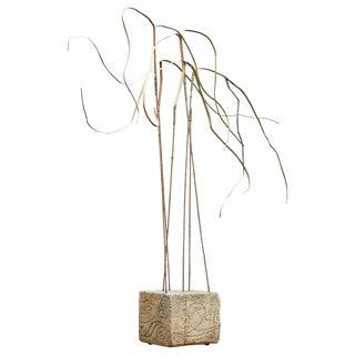 Kinetic Reeds Sculpture Incised Concrete Base Vintage 1950s Studio Craft For Sale