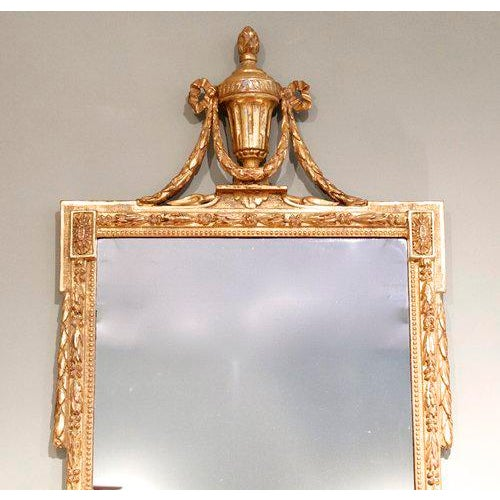 Large Italian Neoclassical Gilt Wood Mirror For Sale - Image 5 of 11