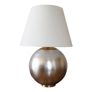Contemporary Visual Comfort Morton Table Lamp in Silver Leaf Finish With Brass Accents
