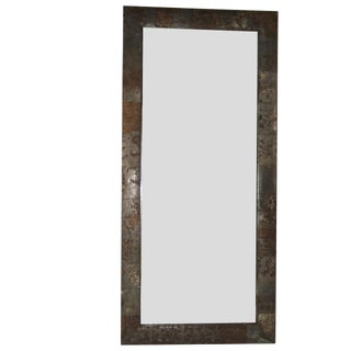 Galvanized Large Mirror With an Incredible Custom Patina For Sale