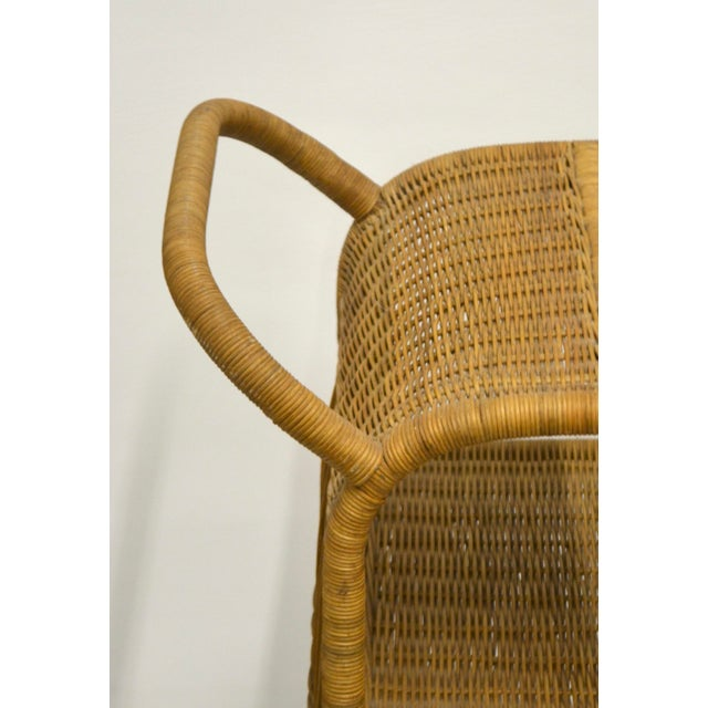 Wood 1960s Mid-Century Woven Rattan Bar Cart For Sale - Image 7 of 12
