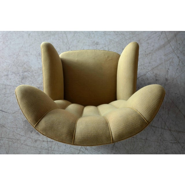 1940s Fritz Hansen Attributed Model 1672 Variant High Back Lounge Chair For Sale In New York - Image 6 of 11