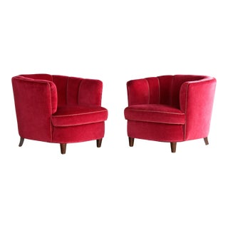 Viggo Boesen Style Pair of 1950s Danish Low Club or Lounge Chairs in Velvet For Sale