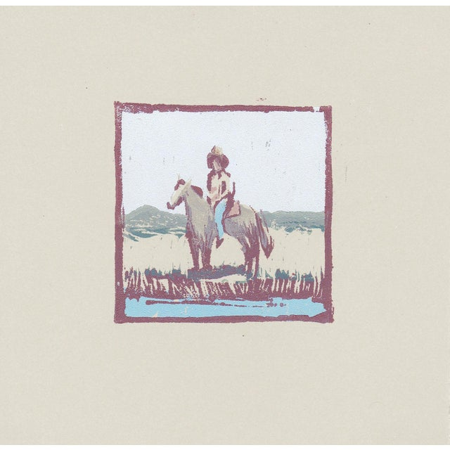 Paper One of a Kind Cowboy Woodblock Print by Michelle Farro For Sale - Image 7 of 7