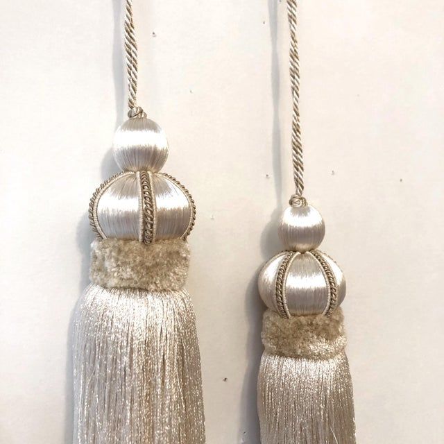 Ivory Ivory Key Tassels W Cut Velvet Ruche - a Pair For Sale - Image 8 of 11