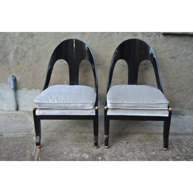 Pr. of Neoclassic Spoonback Chairs by Michael Taylor for Baker. Newly refinished in ebony with newly reupholstered velvet...