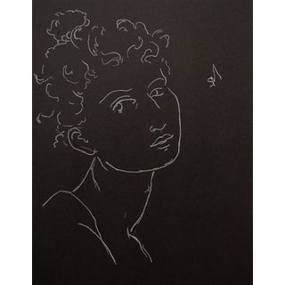 """""""Woman's Head, White Charcoal"""" Contemporary White Charcoal Portrait Drawing by Sarah Myers For Sale"""