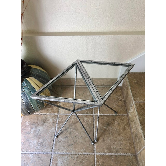 Metal Uttermost Modern Iron & Tempered Glass Tripod Accent Tables - a Pair For Sale - Image 7 of 13