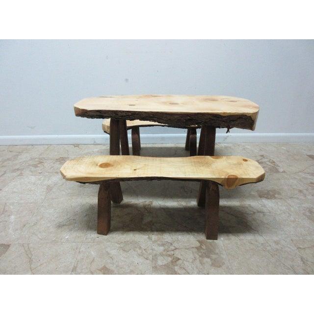 Adirondack Childs Adirondack Cabin Free Form Slab Wood Live Edge Dining Set - Set of 3 For Sale - Image 3 of 11