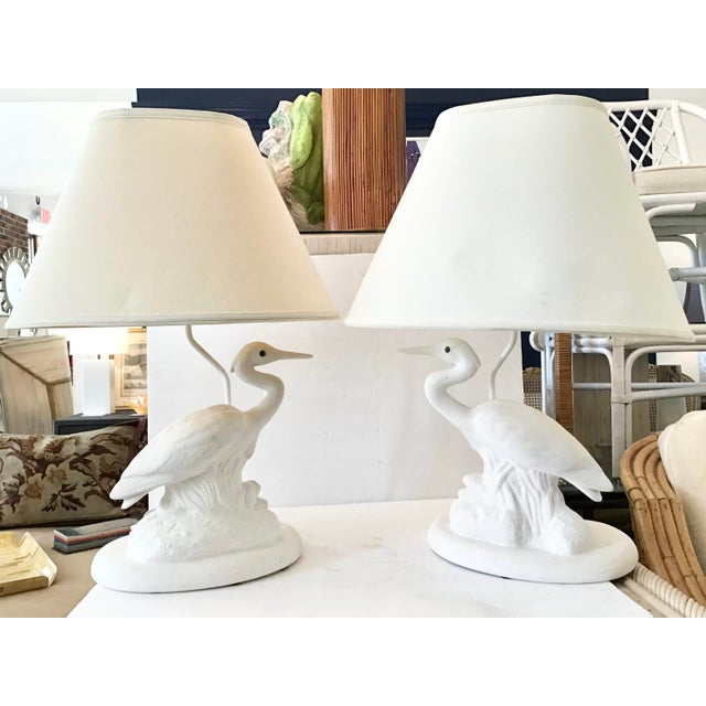 Very beautiful pair of reverse white ceramic birds lamps with shades. Add a touch of coastal decor to your favorite room....