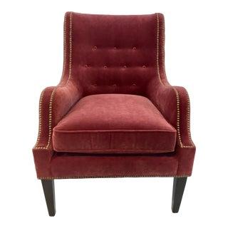 Stylish Modern Thomasville Red Velvet Chandon Club Chair For Sale