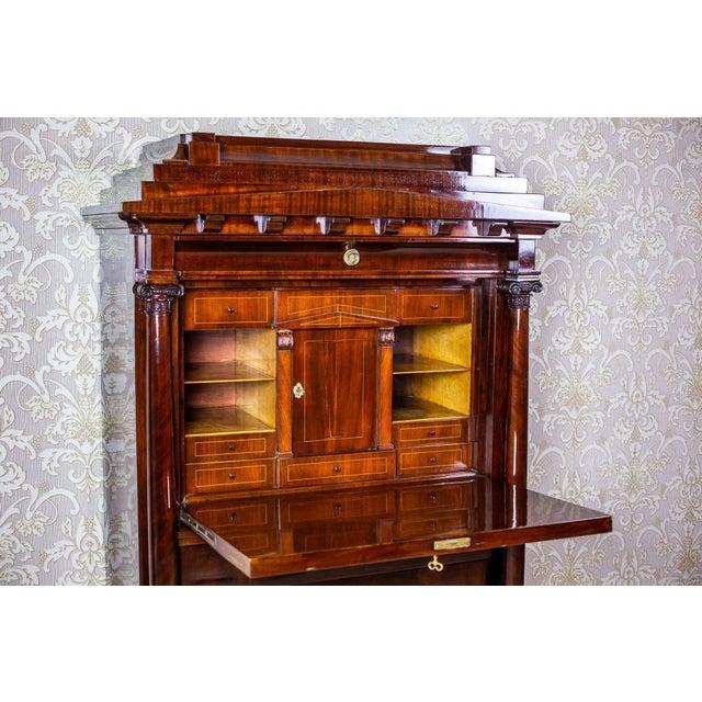 Brown Biedermeier Secretary Desk Veneered with Mahogany, circa 1840 For Sale - Image 8 of 13