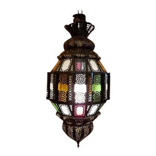 Vintage Moroccan Bal Style Metal & Multi-Color Glass Lantern