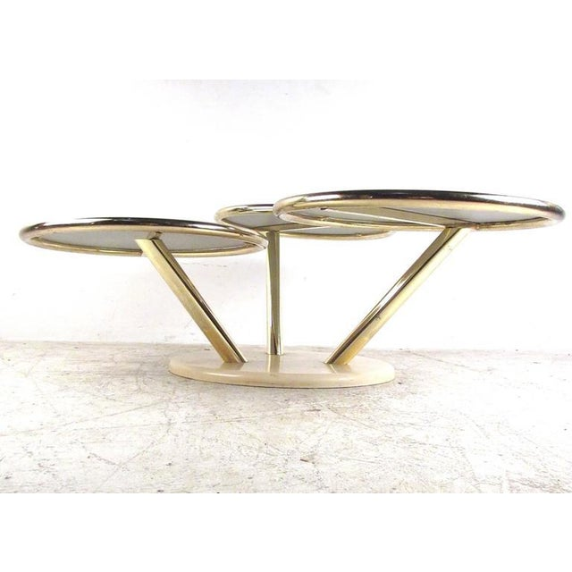 Mid-Century Modern Unique Mid-Century Brass and Glass Swivel Top Coffee Table For Sale - Image 3 of 10