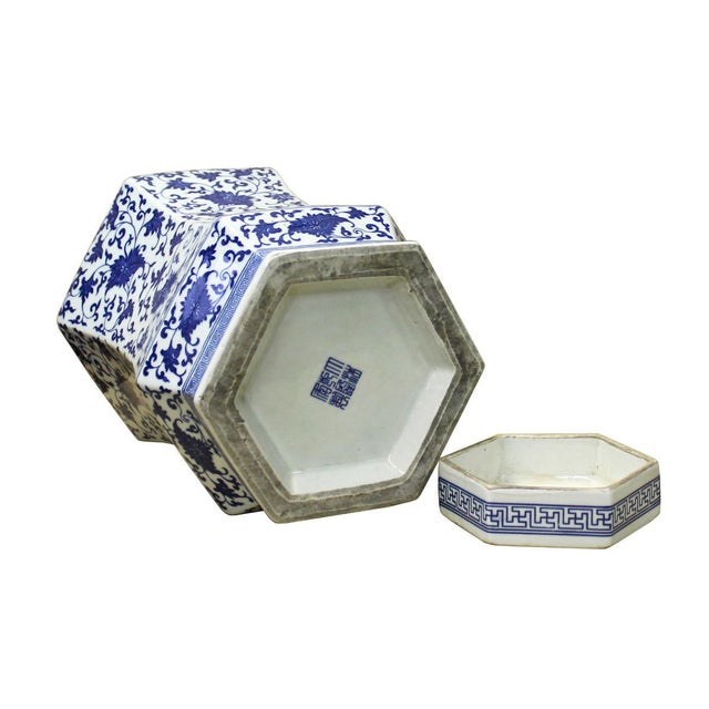 Chinese Blue & White Hexagon Porcelain Jar - Image 5 of 6