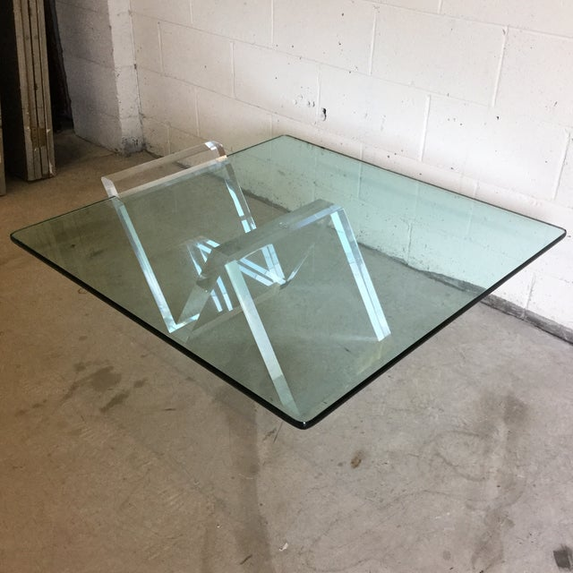 Cantilevered Glass & Lucite Coffee Table For Sale - Image 9 of 10