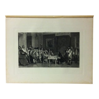 """Antique Photogravure on Paper, """"Moliere at Breakfast - With Louis XVI"""" by Jean Leon Gerome - Circa 1860 For Sale"""