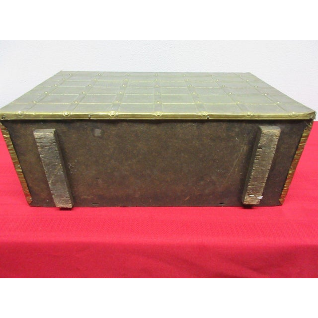 Vintage Brass Hammered Gothic Magazine Rack Stand Box For Sale - Image 9 of 11
