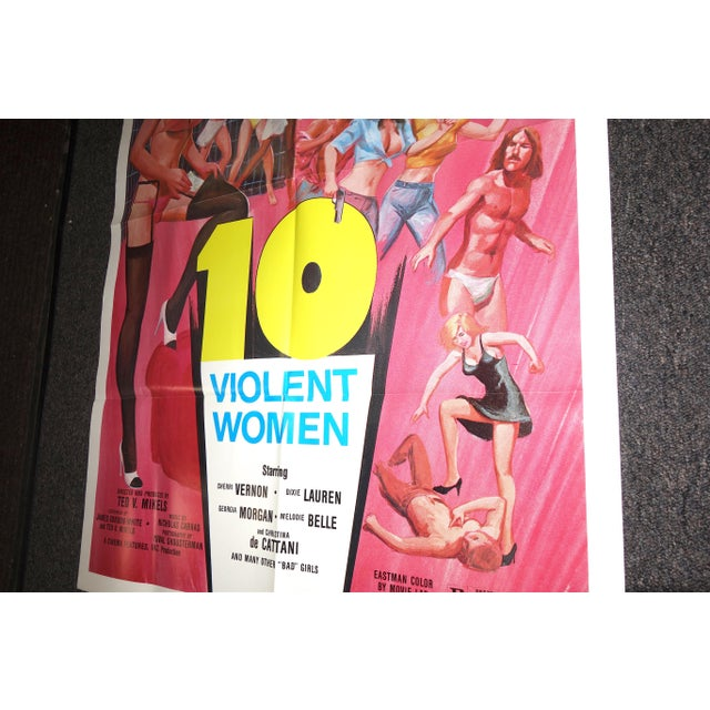 """Offered for your consideration is this rare full sized color movie poster from the 1982 B movie """"10 Violent Women"""",..."""
