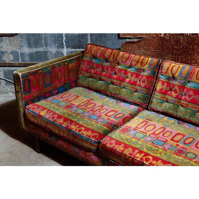 Green Edward Wormley Dunbar sofa with original Jack Lenor Larsen upholstery For Sale - Image 8 of 11