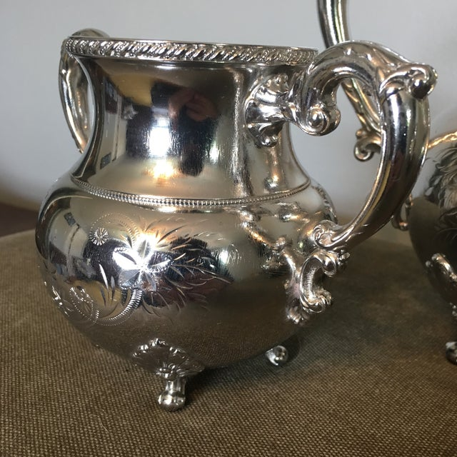 Metal 19th Century Victorian Homan Silver Co. Silver Plated Coffee Service - 3 Pieces For Sale - Image 7 of 10