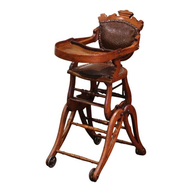 19th Century English Carved Walnut and Leather Adjustable High Chair Rocker For Sale