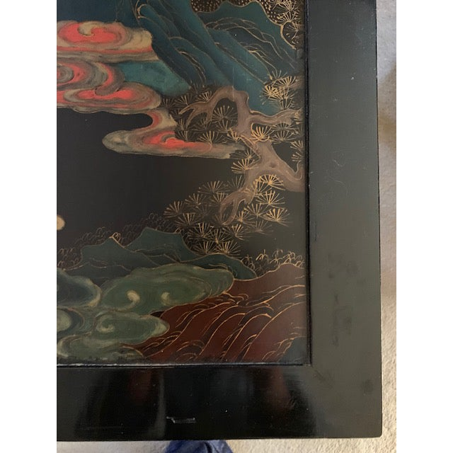 Early 20th Century 20th Century Asian Hand Painted Square Accent Table For Sale - Image 5 of 13