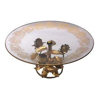 Hollywood Regency Italian Glass Plate and Tole Roses Base For Sale