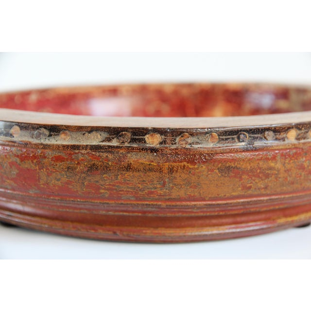 Old Wood Tambourine Bowl For Sale - Image 4 of 4