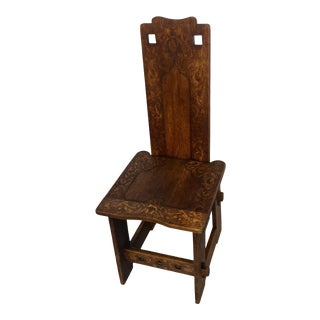 1905 Vintage Signed Pyrography Oak Hall Chair For Sale