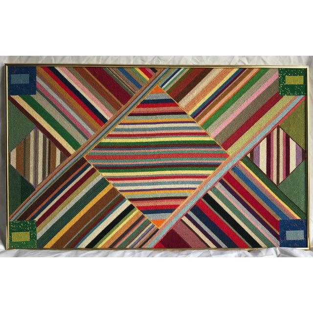"""Large Geometric Colorful Original Needlepoint Art - 36.35"""" x 22.25"""" - Image 3 of 11"""