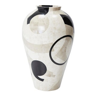 1990s Post Modern Tessellated Et Cetera Mango Jar Floor Vase For Sale