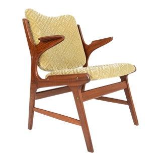 Danish Modern Teak + Mohair Armchair For Sale