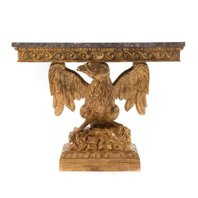 Late 20th Century George II Style Carved Gilt Wood Eagle Console For Sale - Image 5 of 5